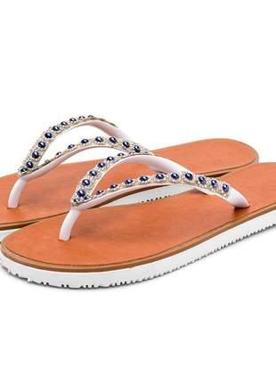 Sandália chinela feminina ouro branco com perolas azul