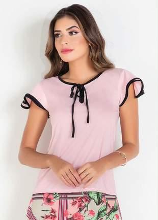 Blusa rosa com cor contrastante moda evangélica