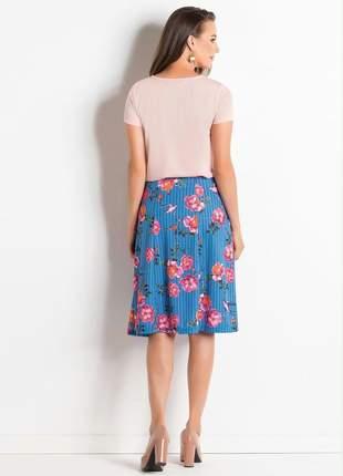 Blusa rosê com gota no decote moda evangélica