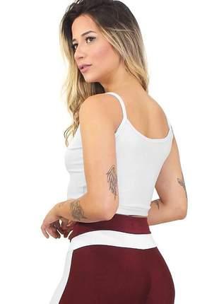 Cropped fitness feminino alcinha basic branco luxo