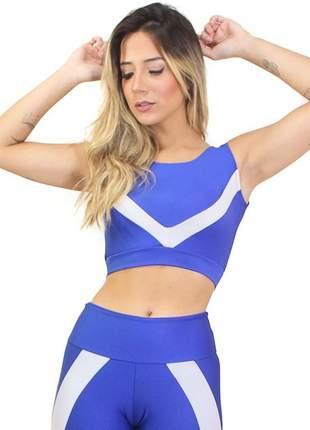 Cropped top fitness feminino azul royal detalhe listras luxo