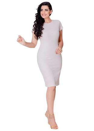 Vestido tubinho canelado midi off-white feminino evangelico