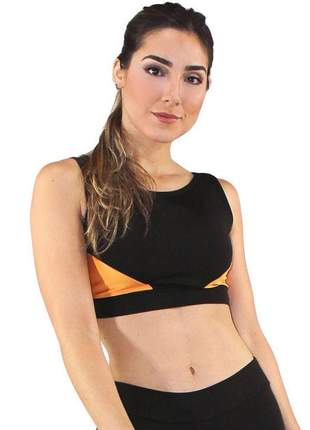 Top cropped fitness feminino triangles preto com amarelo luxo