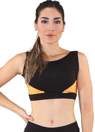 Top cropped fitness feminino triangles preto com amarelo luxo