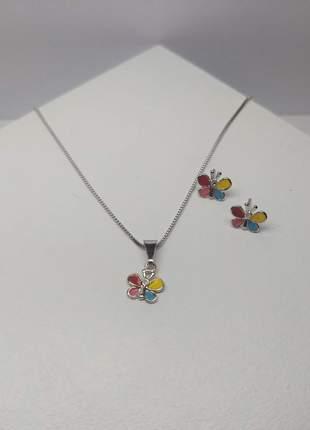 Conjunto brincos e colar infantil borboleta colorida