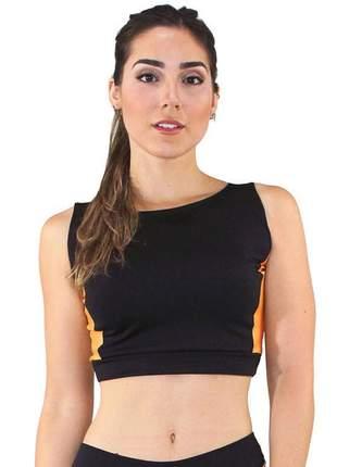 Cropped top fitness feminino preto detalhe amarelo luxo