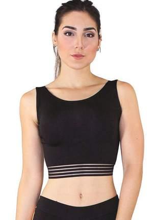 Top cropped fitness feminino preto detalhe elástico preto luxo