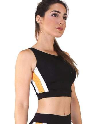 Cropped top fitness feminino preto detalhe amarelo e branco luxo