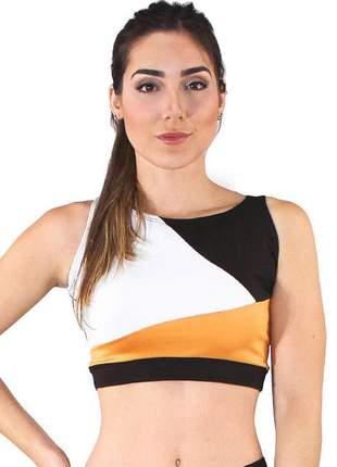 Top cropped fitness feminino preto abstrato detalhes branco e amarelo luxo