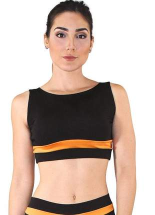 Top cropped fitness feminino preto detalhe faixa amarelo luxo