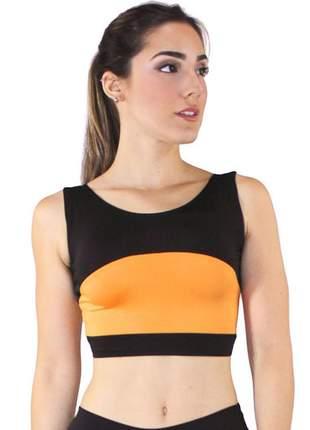 Cropped fitness feminino preto com detalhe amarelo luxo