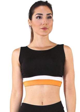 Top cropped fitness feminino preto faixa amarelo e branco luxo