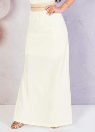 Saia longa off white com elástico dourado