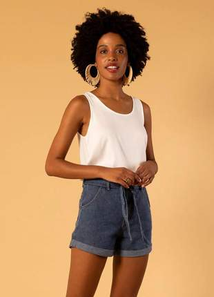 Short jeans faixa azul claro