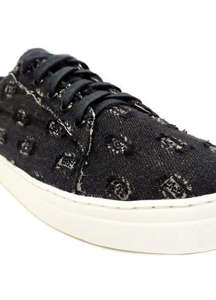 Tênis feminino casual numeração especial sapatenis jeans rasgado preto glitter