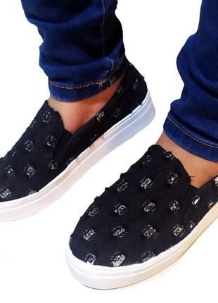 Tênis feminino casual sapatenis jeans preto rasgado luxo 32 ao 40