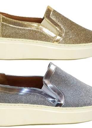 Tenis feminino salto alto plataforma slip on sapatenis luxo glitter dourado prateado