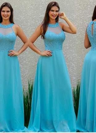 Vestido azul serenity longo moda festa feminino plus casamento batizado