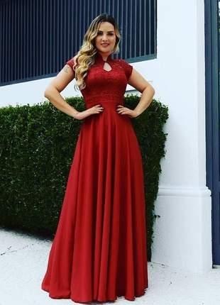 Vestido manguinha de festa longo moda feminina cores