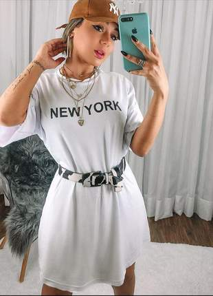 Vestido camisão branco new york feminino confy
