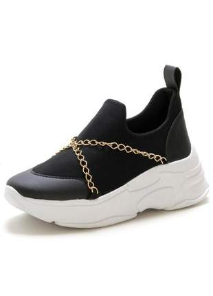 Tenis chunky casual sneakers feminino detalhe corrente confortavel preto