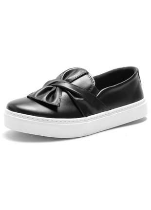 Tenis laço casual iate feminino confortavel preto
