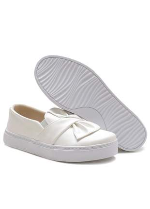 Tenis laço casual iate feminino confortavel branco