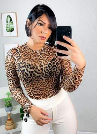 Body tule animal print onça manga longa