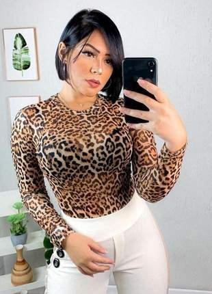 Body tule animal print onça manga longa