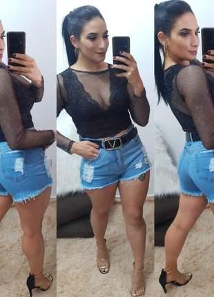 Shorts jeans rasgadinho moda feminina