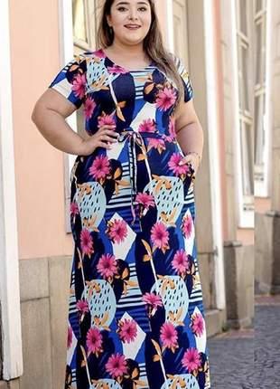 Vestido longo estampado floral com bolsos e sem bojo