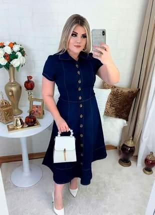 Vestido jeans feminino nesgas botões moda feminina evangelica
