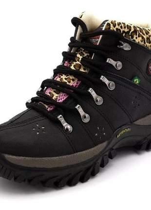 Tênis bota coturno adventure feminino preto com onça