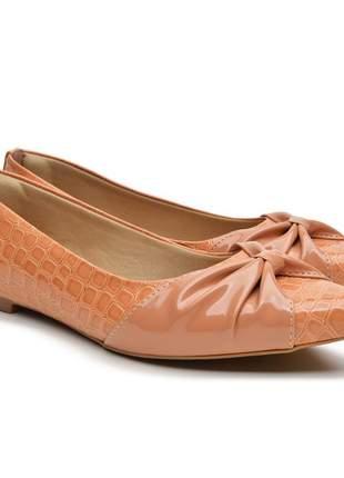 Sapatilha sapato feminina bergally laranja escamada com laço 2020