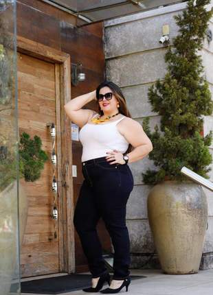 Calça plus size strech jeans azul escuro cós alto moda 2020 até tamanho 54