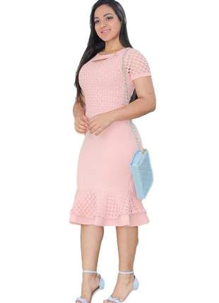 Vestido moda evangélica rosa claro modelo mídi ref 600