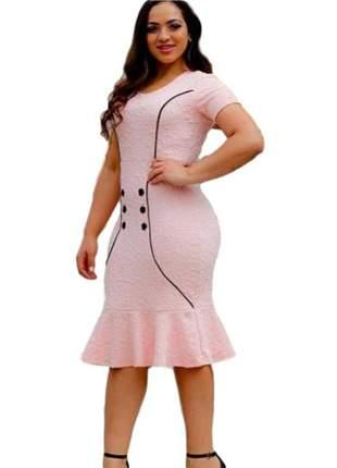 Vestido moda evangélico midi rosa social ref 627