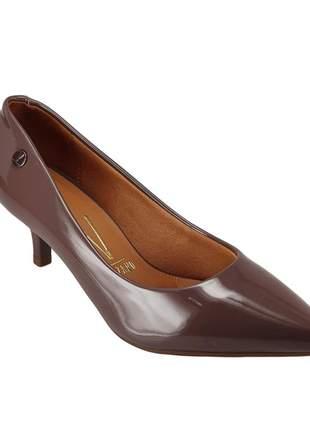 Sapato scarpin vizzano verniz salto baixo cinza