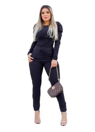 Conjunto feminino calça e blusa de frio outono inverno ref 755
