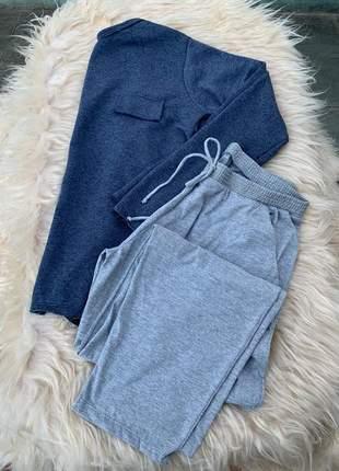 Pijama feminino de inverno moletinho azul cinza mescla longo frio loungewear