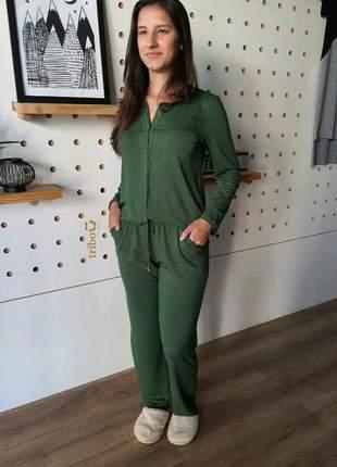 Pijama feminino manga calça longa botao frontal gestante amamentaçao meia estaçao verde