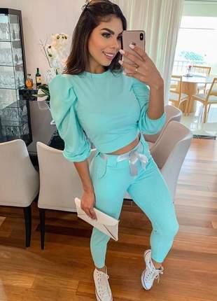 Conjunto manga princesa blusa com calça