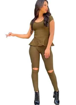 Calça bandagem flare rasgo no joelho cintura alta compressão