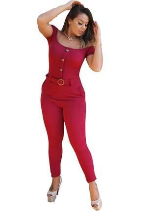 Macacao ombro a ombro crepe feminino com cinto feminino moda