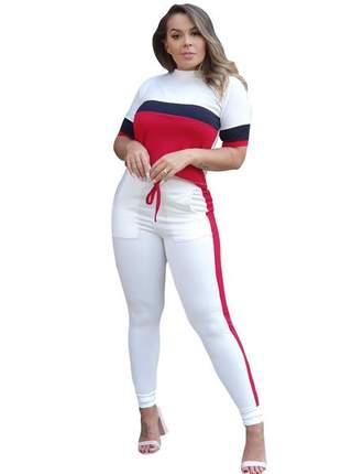 Conjunto feminino crepe manga curta jogger verao moda listra