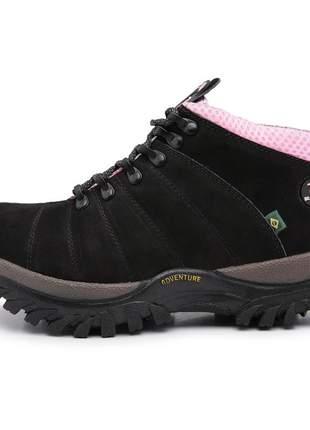 Bota coturno bergally preto com rosa cano médio 100% couro legítimo 2020