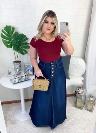 Saia jeans longa evangelica botoes frontal moda cristã comportada