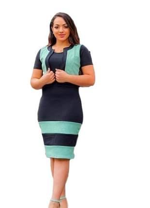Vestido feminino evangélico social colete preto e verde ref 619