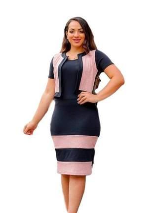 Vestido evangélico preto e rosa social midi coletinho ref 619