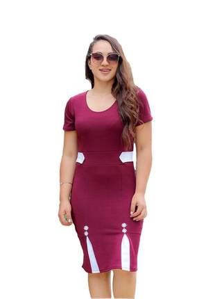 Vestido social vinho moda evangélica ref 638